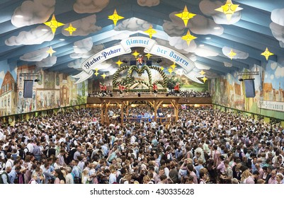 Munich, Germany - September 21, 2015 Typical beer tent scene, Oktoberfest, Munich, Bavaria, Germany, Europe
