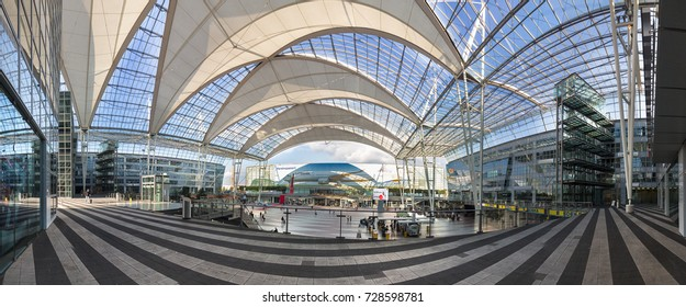 Munich, Germany - September 21th, 2017: A panoramic view of the Franz Joseph Strauss Airport , Munich, Germany.