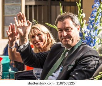 Munich, Germany - September 23: Participants (Markus Soeder) of the annual opening parade of the oktoberfest on september 23, 2018 in the old town of munich