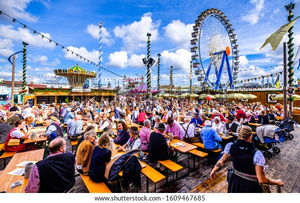 munich, Germany - September 24: the oktoberfest - carousels and people at the world greatest annual fair on september 24, 2019 in munich