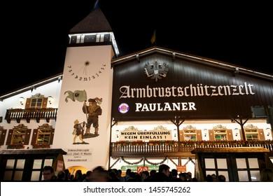 Munich, Germany - September 26, 2015: Nightshot of the Armbrustschuetzenzelt on Theresienwiese during Oktoberfest