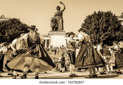 MUNICH, GERMANY - SEPTEMBER 26: traditional dancing group at the biggest folk festival in the world - the octoberfest on september 26, 2017 in munich.