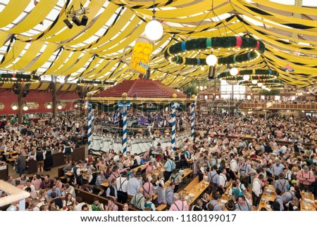 Munich Germany - September 27 2017 The interior of the Paulaner Beer Tent & Munich Germany September 27 2017 Interior Stock Photo (Edit Now ...