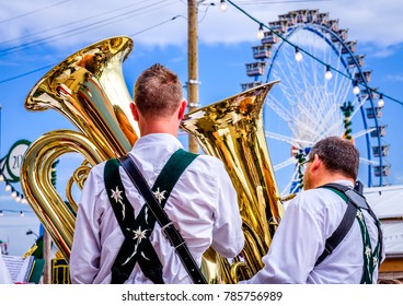 MUNICH, GERMANY - SEPTEMBER 27: brass band musicans at the biggest folk festival in the world - the octoberfest on september 27, 2017 in munich.