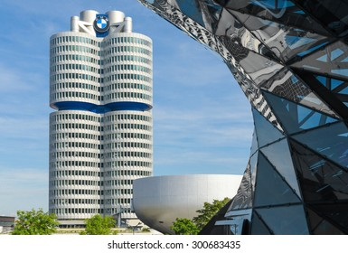 Munich, Germany - September 28, 2014: BMW four-cylinder tower Munich landmark which serves as world headquarters for Bavarian automaker. Stock photo with elements of designs Museum and Welt (world).