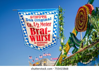 Munich, Germany - September 29, 2016:  German Bratwurst sign on top of a fairground stall at Oktoberfest Munich, Germany