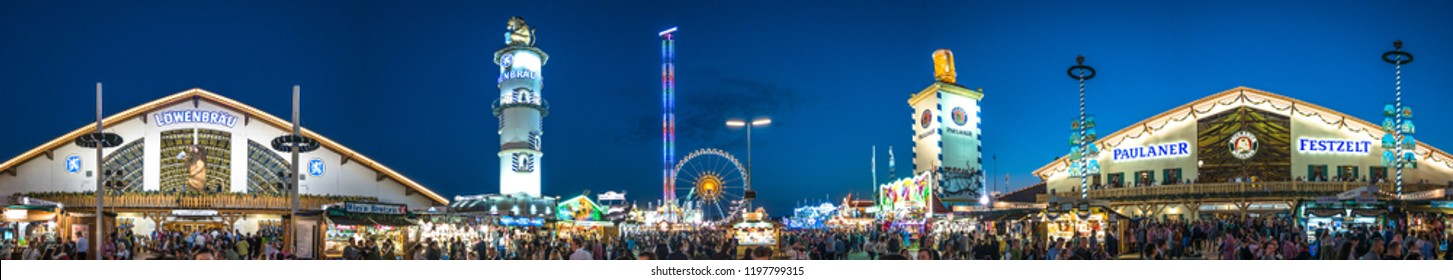 Munich, Germany - September 30: famous beer tent and people at the biggest folk festival in the world - the oktoberfest on September 30, 2018 in munich.