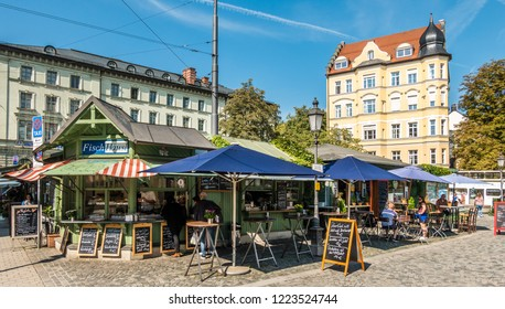 Munich, Germany - September 6: typical bavarian market stalls at the famous wiener platz in munich on september 6, 2018