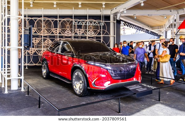 Munich, Germany - September 7: Audience at a car manufacturer's booth at the IAA (Internationale Auto Ausstellung - translation: international auto exhibition) trade fair in Munich on September 7,2021