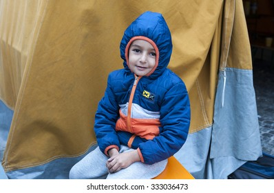 Munich, Germany -September 7th, 2015: Refugee child from Syria at Munich Central Station, Germany