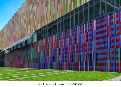Munich, Germany, September 9, 2016: Museum Brandhorst , a rectangular structure and multi-coloured facade composed of 36,000 vertical ceramic louvres in 23 different coloured glazes