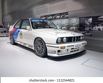 MUNICH, GERMANY-APRIL 4, 2017: 1989 BMW M3 Group A DTM 2.3 (Drivers: Ravaglia, Cecotto, Soper, Giroix) in the BMW Museum.