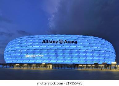 MUNICH, GERMANY-CIRCA SEPTEMBER 2014: Allianz Arena-official playground of FC Bayern in blue at dusk