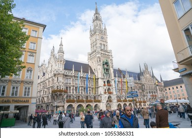 MUNICH GERMANY-SEPTEMBER 11; Marienplatz and the dominant Rathaus as late afternoon shadows affect the street and square below September 12 2017 Munich Germany