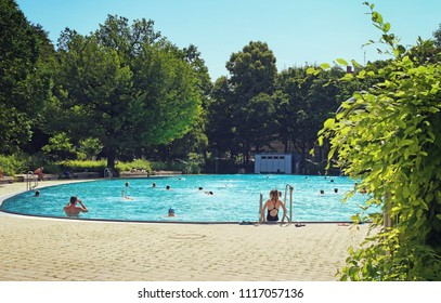 MUNICH, GERMAY -JUNE 11, 2018 Wonderful summer weather and leasure time for a swim at one of the popular swimming baths in Munich
