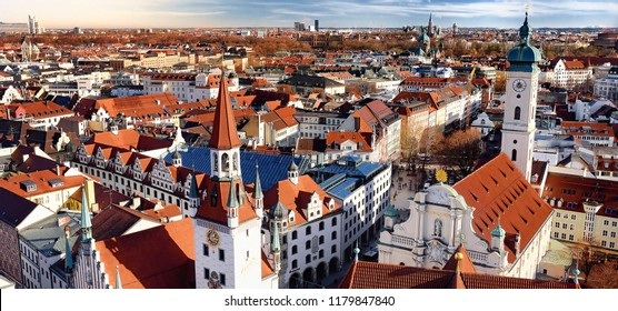 Munich historical center panoramic aerial cityscape view with Old Town Hall and Heiliggeistkirche. Munich, Germany