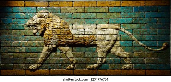 MUNICH - JUL 21, 2018 - Babylonian wall tiles of lion, Egyptian Museum, Munich, Germany