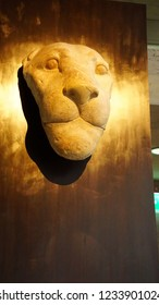 MUNICH - JUL 21, 2018 - Head of a lion from a tomb, Egyptian Museum, Munich, Germany