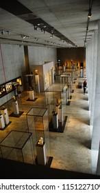 MUNICH - JUL 21, 2018 - Visitors explore the stunning new Egyptian Museum, Munich, Germany
