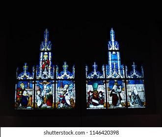 MUNICH - JUL 22, 2018 - Beautiful Gothic stained glass window panes, Bavarian National Museum, Munich, Germany