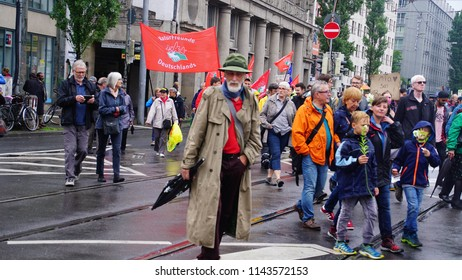 """MUNICH - JUL 22, 2018 - Coalition of groups march to protest the Bavarian Social Union (CSU) """" Together against the politics of fear"""" in centralMunich, Germany"""