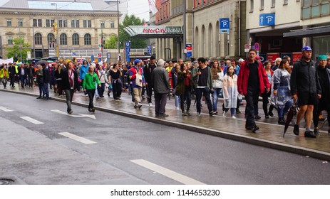"MUNICH - JUL 22, 2018 - Coalition of groups march to protest the Bavarian Social Union (CSU) "" Together against the politics of fear"" in centralMunich, Germany"