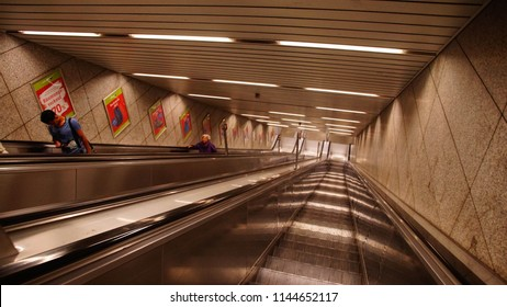 MUNICH - JUL 22, 2018 - Escalators of the U-bahn metro system in Munich, Germany
