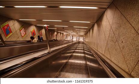 MUNICH - JUL 22, 2018 - Escalators of the U-bahn metro system in Munich, Germany