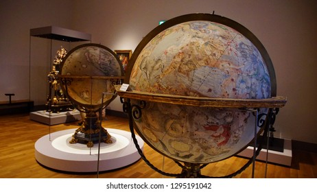 MUNICH - JUL 22, 2018 - Large antique globes showing celestial zodiac stars, Bavarian National Museum, Munich, Germany