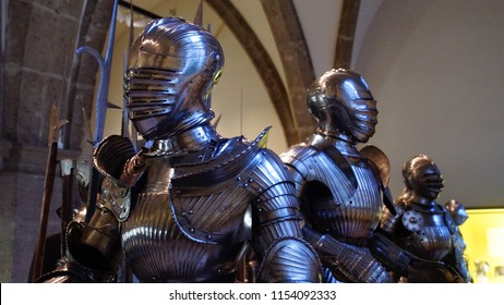 MUNICH - JUL 22, 2018 - Medieval knight's suit of armor,Bavarian National Museum, Munich, Germany