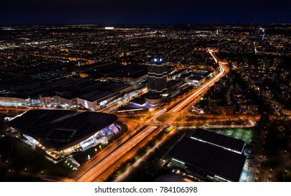 Munich night panoramic aerial cityscape view with bright lights