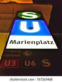 "Munich - Nov 25, 2017; A sign for public transportation in Munich at Marienplatz for ""U-Bahn"" (subway) and ""S-Bahn"" (local express train)."