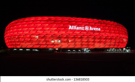 MUNICH - OCT 2: Allianz Arena at night on October 2, 2012. The Allianz Arena is a football stadium in Munich, Bavaria, Germany. It is the home of the FC Bayern Munich and TSV 1860 Munchen.
