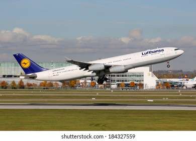 MUNICH - OCTOBER 24: A Lufthansa Airbus A340 takes off on October 24, 2013 in Munich. Lufthansa is the German flag carrier and Europe's largest airline. Munich Airport is its second biggest hub.