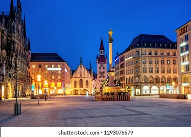 Munich Old town, Marienplatz and the Old Town Hall, Germany, in the evening light