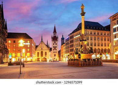 Munich Old town, Marienplatz square and the Old Town Hall tower, Germany, on dramatical sunrise