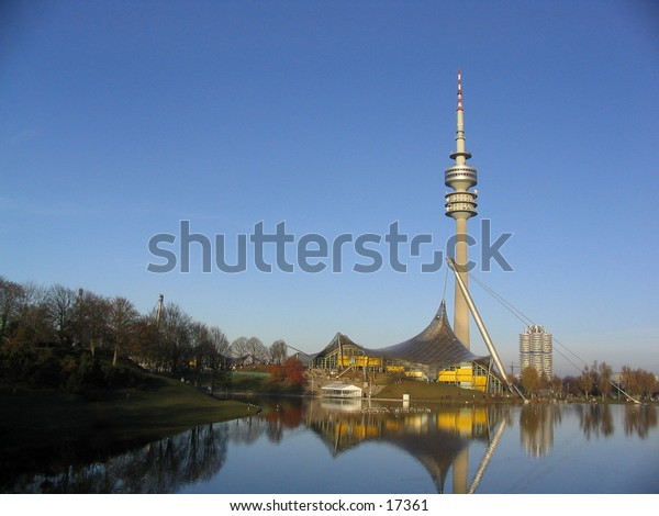 Munich olympic tower against a blue sky