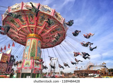 Munich - September 26, 2018: The Munich Oktoberfest offers apart from beer also a large selection of carousels.