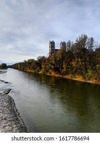 Munich,Bavaria / Germany - 11-23-2019: St. Maximilian Roman Cathedral  on the Isar River in Munich