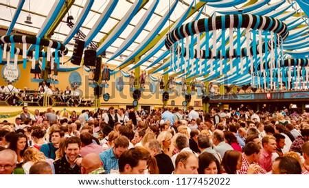 MUNICH/GERMANY - SEPTEMBER 2017: people celebrating at the Oktoberfest