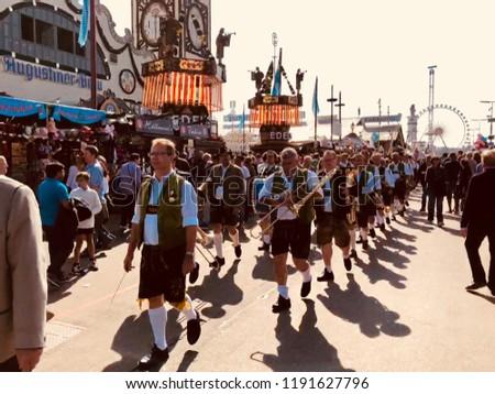 MUNICH/GERMANY - SEPTEMBER 2018: bavarian traditional music band at the Oktoberfest
