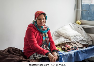 Munich-Germany- September 22; 2015: Women from Afghanistan in the initial reception center for refugees in Riem; Munich