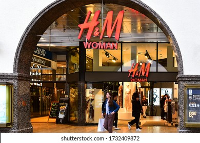 Munich,Germany-April 26,2019: HM fashion store exterior in Munich.