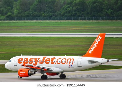 Munich,Germany-April 29,2019:EasyJet Europe OE-LKH Airbus A319.easyJet Europe Airline GmbH, styled as easyJet, is a low-cost airline based in Vienna, Austria and a subsidiary of easyJet.