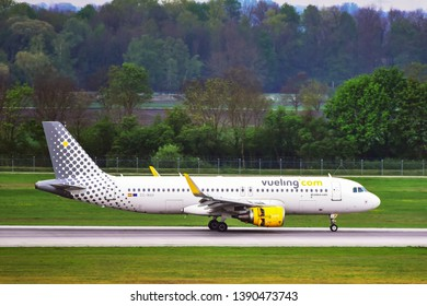 Munich,Germany-April 29,2019:Vueling Airlines Airbus A320 arrival.   Vueling Airlines is a Spanish airline.