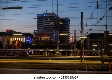 Munich,Germany-July 13,2018:  View of the Bayerischer Rundfunk broadcasting corporation  building at night