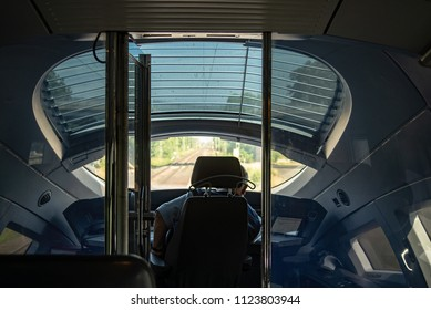 Munich,Germany-June 28,2018: Interior of train cockpit while moving at high speed seen from behind