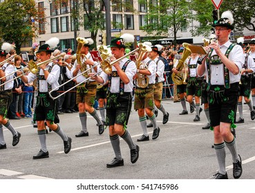 Munich,Germany-September 19,2015: A marching band walks during the Brewers' Parade at the start of the Oktoberfest in Munich