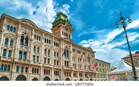 Municipal building of Trieste in Piazza Unita D Italia - Friuli Venezia Giulia region - Italy .