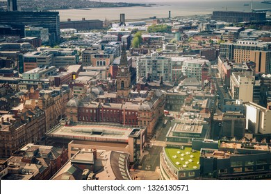 Municipal Buildings in Liverpool - aerial photo. Liverpool, North West England, UK.